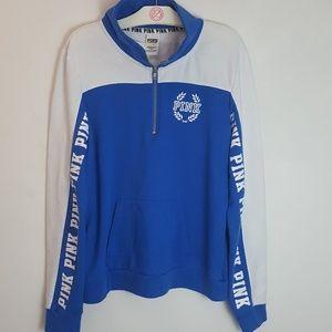 PINK L Royal Blue Logo Half Zip Sweater